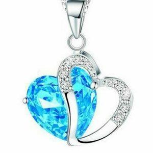 Blue Crystal Heart 925 Sterling Silver / Zircon